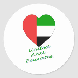 United Arab Emirates Flag Heart Classic Round Sticker