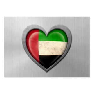 United Arab Emirates Heart Flag Stainless Steel Ef Business Card Template