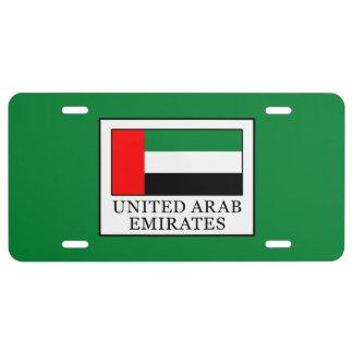 United Arab Emirates License Plate