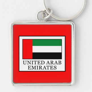 United Arab Emirates Silver-Colored Square Keychain