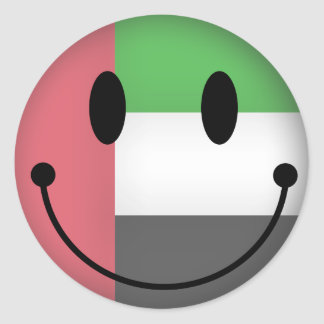 United Arab Emirates Smiley Classic Round Sticker