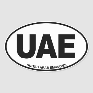 United Arab Emirates UAE Oval ID Code Initials Oval Sticker