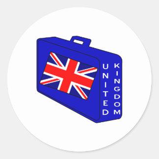 United Kingdom Blue Luggage Round Sticker