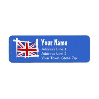 United Kingdom Brush Flag Return Address Label