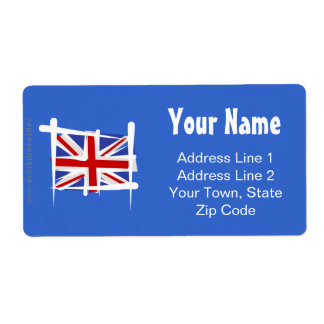 United Kingdom Brush Flag Shipping Label
