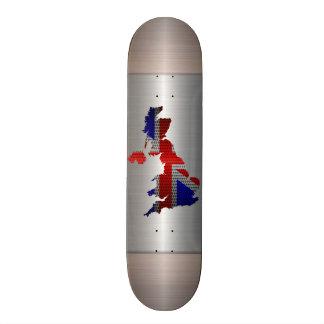 United Kingdom Flag and Map Steel Metal Hole Custom Skate Board