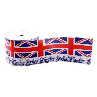 United Kingdom Flag and Words Grosgrain Ribbon