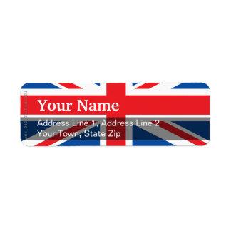 United Kingdom Plain Flag Return Address Label