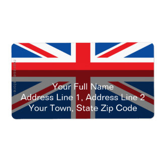 United Kingdom Plain Flag Shipping Label