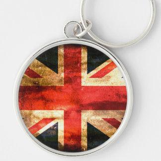 United Kingdom Silver-Colored Round Keychain