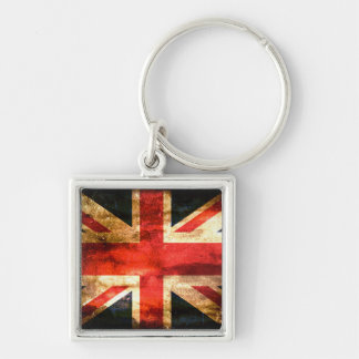United Kingdom Silver-Colored Square Keychain
