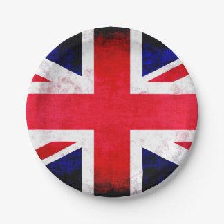 United Kingdom UK Flag Grunge Old Design 7 Inch Paper Plate