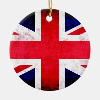 United Kingdom UK Flag Grunge Old Design Ceramic Ornament