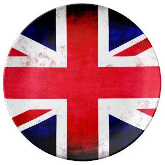 United Kingdom UK Flag Grunge Old Design Porcelain Plates