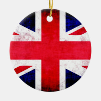United Kingdom UK Flag Grunge Old Design Round Ceramic Ornament