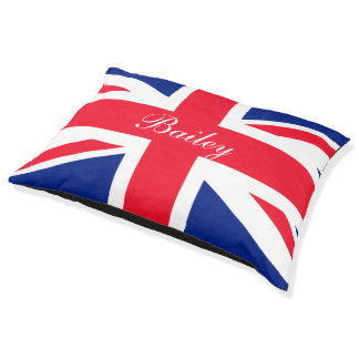 United Kingdom UK Union Jack Personalized Flag Large Dog Bed