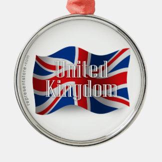 United Kingdom Waving Flag Metal Ornament