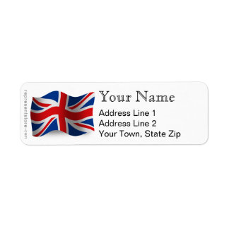 United Kingdom Waving Flag Return Address Label
