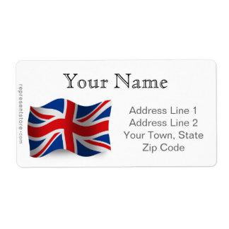 United Kingdom Waving Flag Shipping Label