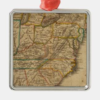 United States 3 Silver-Colored Square Ornament