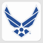 United States Air Force Logo - Blue Square Sticker