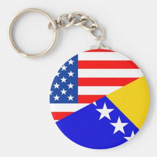 united states america bosnia herzegovina half flag keychain