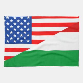 united states america hungary half flag usa towels