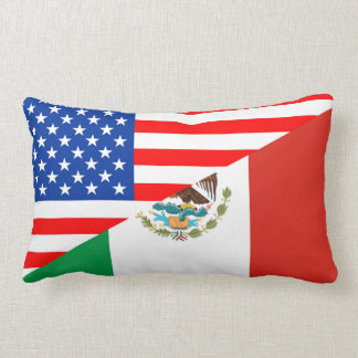 united states america mexico half flag usa country lumbar pillow