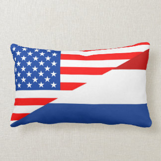 united states america netherlands half flag  usa lumbar pillow