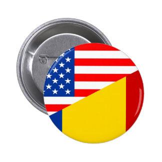 united states america romania half flag usa countr 2 inch round button