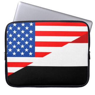 united states america yemen half flag usa country laptop computer sleeve