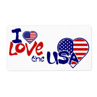 United States American Flag I Love  USA Label Shipping Label