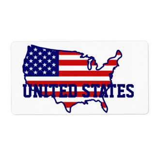 United States American Flag Map Label Shipping Label