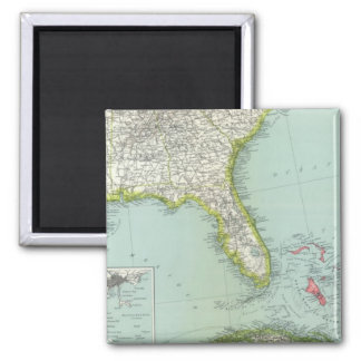 United States and Bahamas Square Magnet