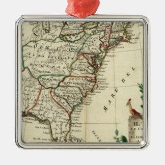United States and Canada Silver-Colored Square Ornament