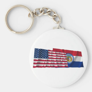 United States and Missouri Waving Flags Basic Round Button Keychain