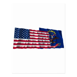United States and North Dakota Waving Flags Postcard
