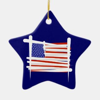 United States Brush Flag Ceramic Star Ornament