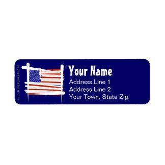 United States Brush Flag Return Address Label
