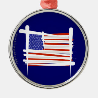 United States Brush Flag Silver-Colored Round Ornament