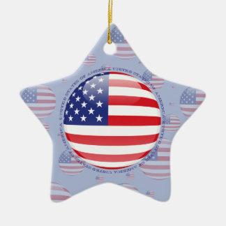 United States Bubble Flag Ceramic Star Ornament