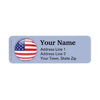 United States Bubble Flag Return Address Label