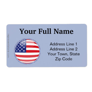 United States Bubble Flag Shipping Label