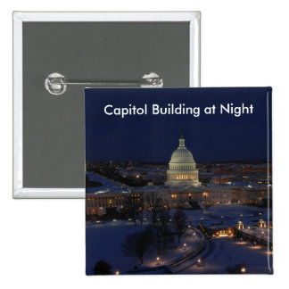 United States Capitol Building at Night 2 Inch Square Button
