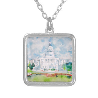 united states capitol silver plated necklace
