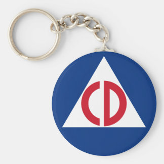 United States Civil Defense Logo Vintage Symbol Keychain