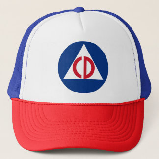 United States Civil Defense Logo Vintage Symbol Trucker Hat