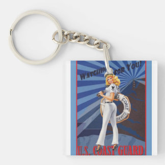 United States Coast Guard is Watching for You Single-Sided Square Acrylic Keychain