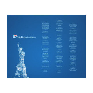 United States Constitution Blue and Liberty Statue Canvas Print