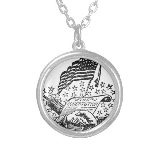 United States Constitution Silver Plated Necklace